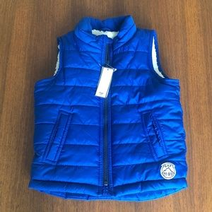 NWT Baby GAP Blue Shearling-lined Puffer Vest
